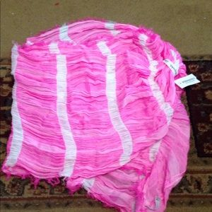 AEROPOSTALE PINK AND WHITE STRIPE INFINITY SCARF